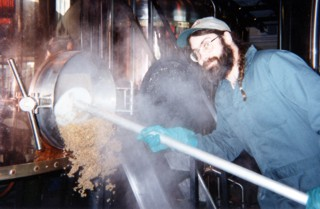 Glen Falconer 'pulling mash' at the Wild Duck Brewery.
